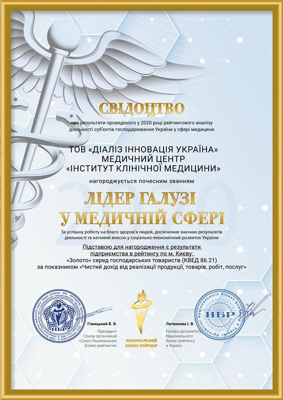 MC Institut Klinichnoi Medicini - Звання Лідер галузі 2020 у медичній сфері